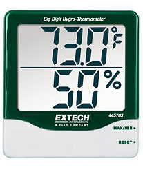 "Big Digit Hygro-Thermometer with Min/Max ""Extech"" model 445703"
