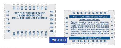 "Wet Film Thickness Gage 25-2000 micron ""Gardco"" Model WF-CCD"